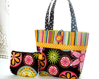 Carnival Bloom Fabric Little Girls Purse Coin Purse Set Mini Tote Bag Childs Purse Michael Miller Pink Brown Orange Lime Floral Daisy