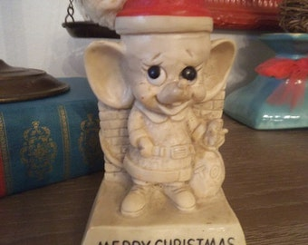 Vintage Christmas Mouse in Santa Hat ~ 1969 Russ Berrie and Wallace Berrie Merry Christams