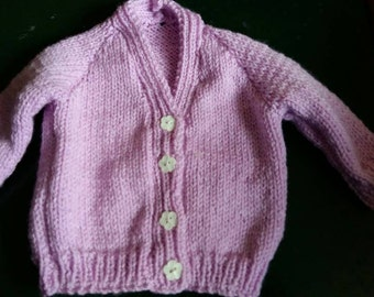 Hand knitted 0-3 month cardigan