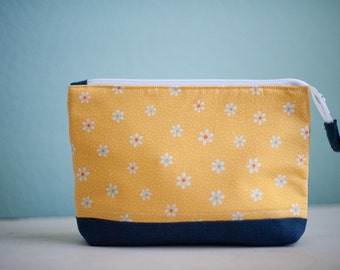 Yellow Flower zippered pouch - zippered bag - Cosmetic bag - Accessory bag