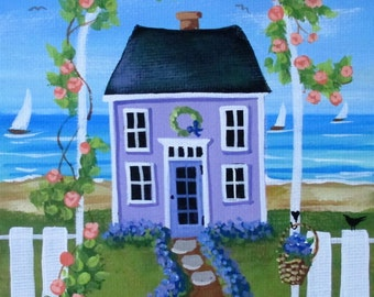 "Forget Me Not Cottage 5"" x 7"" Original Folk Art Painting"