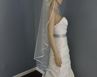 Wedding Veil Cascade Satin Ribbon Edge, Bridal Veil Choose your Color and Length CRIE