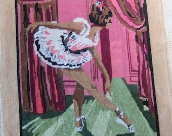 BALLERINA vintage needlepoint panel. 1950s needlework, ballet canvas, ballerina pillow, 50s girls decor