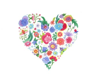 Rainbow floral heart illustration