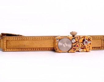 Steampunk Vintage Yellow Gold Watch Brass Tie Bar Alligator Clip