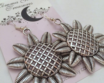 Sunflower Antique Pewter Flower Earrings