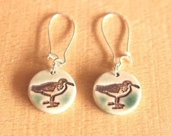 Adorable Handmade Porcelain SANDPIPER Seashore Bird Earrings
