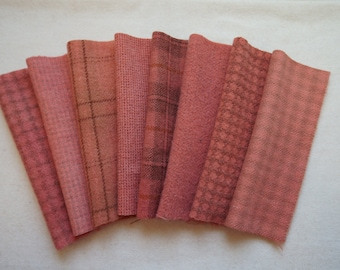 Mango - Melon - Salmon - Peach - Hand Dyed Felted Wool in a Beautiful Collection Perfect Rug Hooking and Applique Wool