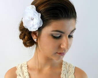 Silk Ivory Rose Comb Rhinestone Bridal Comb Wedding Comb Bridal Accessories Silver Comb Handmade Hair Fascinator - or CHOOSE Your Color