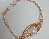 Gold bracelet with large pearl, herringbone bracelet,bracelet gold