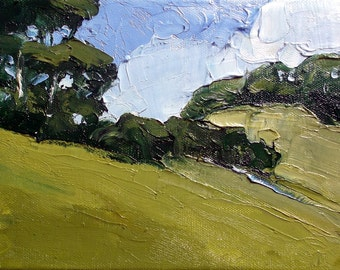 Impressionist Oil Painting Plein Air Landscape California SANTA MARIA Hills Art Lynne French 6x8
