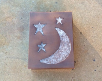 "The Moon and Stars in Copper // 9"" x 12"" x 4"" Light Sconce"
