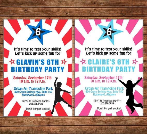 Boy or Girl Ninja Warrior Jump Kick Birthday Party Invitation - DIGITAL FILE