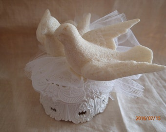 Vintage Wedding Cake Topper Love Birds Cake Topper 1970's