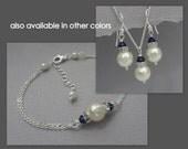 Navy Blue Jewelry Set,   Swarovski Ivory Pearl and Navy Bridesmaid Jewelry Set, Maid of Honor Gift, Bridesmaid Gift, Bridesmaid Jewelry Set