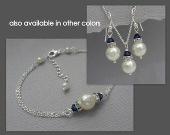 Navy Blue Bridesmaid Gift,  Dark Sapphire Jewelry Set, Swarovski Ivory and Navy Jewelry Set, Bridesmaid Jewelry Set, Navy Jewelry