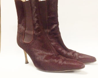 Vintage MANOLA BLAHNIK Mahogany Pony Hair Heeled Ankle Boots 8.5