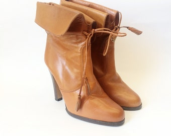 Vintage 70s Brown Leather Ankle High Heel Boots 7