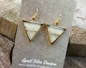 Birch Bark Triangle Earrings - Gold Triangle Earrings - Real Birch Bark Jewelry -  Natural Wood Earrings - Nature Jewelry