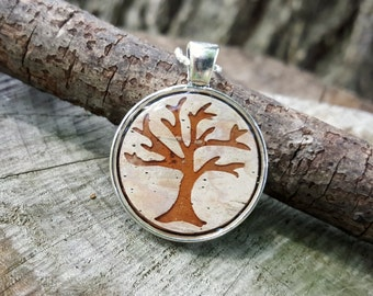 Tree Necklace -  Real Birch Bark Necklace -  Tree Silhouette - Woodland Rustic Country Wedding Bridesmaids Jewelry - Tree of Life Necklace