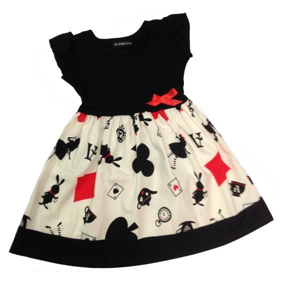 Alice in Wonderland Baby Dress by Alternatots White & Black