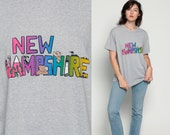 New Hampshire Shirt 80s Graphic Tee MOOSE BEAR Animal T Shirt Grey Hot Pink Retro Tshirt Travel Top Vintage Hipster 1980s Us State Large xl