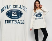 Football Shirt MENLO COLLEGE Shirt Retro Tee Football Tshirt Long Sleeve 80s American Graphic T Shirt Sports Vintage Off White Large xl