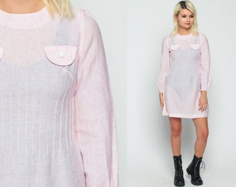Puff Sleeve Dress Pastel Pink Shift SHEER 60s Mod Mini Hippie Vintage 1960s Gogo Boho Twiggy Sixties Long Sleeve Space Age Extra Small XS