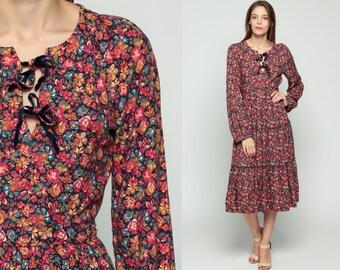 70s Bohemian Dress Tiered Floral Print Boho Midi 1970s Vintage Keyhole Long Sleeve High Waist Hippie Pink Orange Peasant Small