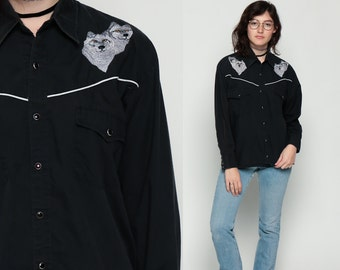 Pearl Snap Shirt Western 70s EMBROIDERED WOLF Cowboy Button Up Animal 1970s Vintage Hipster Long Sleeve Blouse Black Rockabilly Medium Large