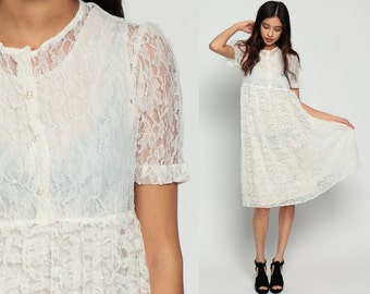 Lace Babydoll Dress 80s Midi Puff Sleeve SHEER White Grunge Party 1980s Boho Wedding Dolly Lolita Button Up Vintage Small