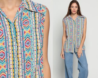 Tribal Top Aztec Shirt Geometric Blouse 70s Top Bohemian Shirt 1970s Hippie Sleeveless Button Up Boho Tank Top Retro Stripe Extra Large xl
