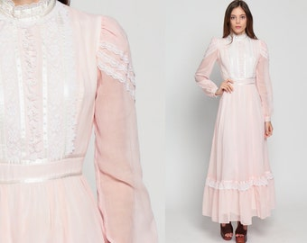 Gunne Sax Dress Bohemian Lace 70s Maxi Boho Victorian Prairie Sheer Puff Sleeve 1970s Boho Hippie Wedding Tiered Long Pastel Pink Small Xs