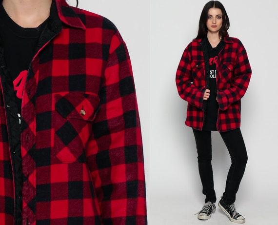 Red plaid shirt flannel jacket buffalo plaid shirt 90s grunge for Red buffalo flannel shirt
