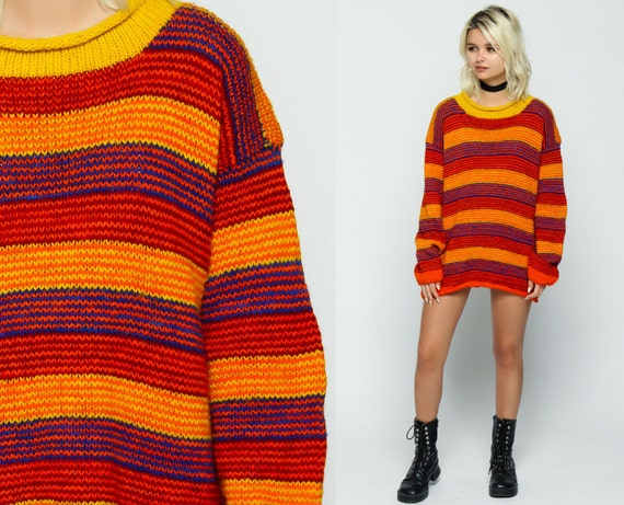 Pullover Sweater Grunge STRIPED Knit 80s Orange Yellow Blue