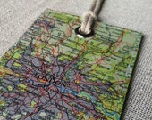 Greater London Area in England original vintage map luggage tag