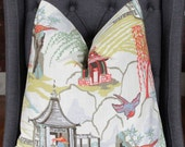 Robert Allen, Chinese Pagoda Pillow Cover, Decorative Pillow, Throw Pillow, Asian Theme Pillow, Asian Inspired Home Decor, Home Furnishing
