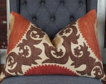 Pillow Cover, Decorative Pillow, Throw Pillow, Toss Pillow, Sofa Pillow, Lumbar Pillow, Brown Suzani, Coral Suzani, Home Furnishing