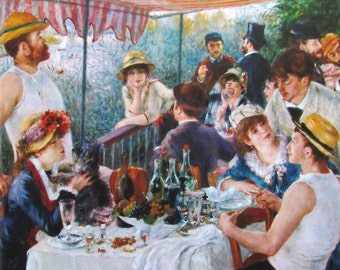 Auguste Renoir, Luncheon of the Boating Party, 1881, 9 x 7 in. Reproduction Impressionist Print,Color Plate, 1970 Book Page