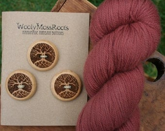 3 Wood Tree Buttons- Oregon Yew Wood- Wooden Buttons- Eco Craft Supplies, Eco Knitting Supplies, Eco Sewing Supplies