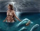 Calypso Art Print, water nymph, Greek Mythology