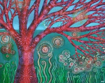 Red Spiral Tree, Giclee Print.