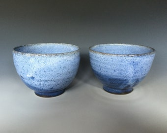 Set of Two Blue and White Stoneware Cereal Bowls