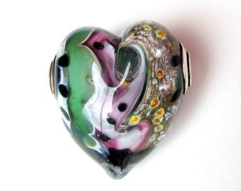 Beautiful Rose-Green Lampwork Heart by Kim Miles