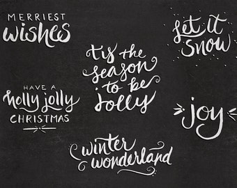 Hand-Lettered Christmas Overlays - Transparent Photoshop and PNG - Christmas Card Downloads - Digital Files - Holiday Phrases
