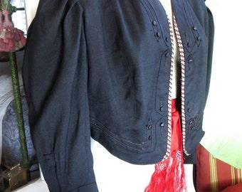 1870s Civil War Era Zouave Jacket Black Wool Silk Details Excellent Condition 38 Bust
