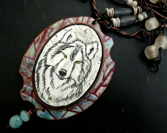 Timber Wolf - enamel and scrimshaw wolf necklace in blue, grey and copper, call of the wild Vintajia Adornments