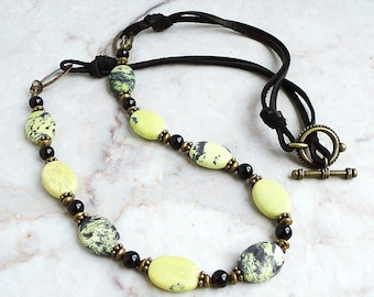 Yellow Turquoise Black Onyx Deerskin Leather Necklace 27 inches, Antique Brass, Handmade Jewelry for Her