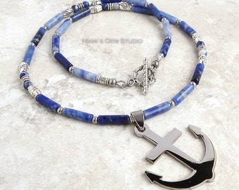 Mens Beaded Necklace, Sodalite, Anchor Pendant, Blue Stone Necklace for Men, Navy, Marine, Fisherman, Mens Jewelry