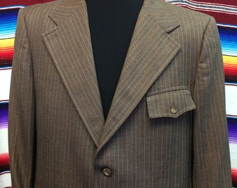 42R vintage brown striped western suit coat jacket
